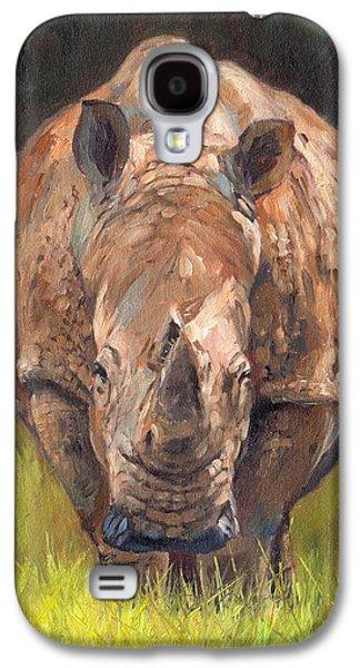 Rhinoceros Paintings Galaxy S4 Cases - Rhino Galaxy S4 Case by David Stribbling