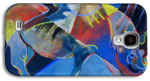 Rhinoceros Paintings Galaxy S4 Cases - Rhino Galaxy S4 Case by Rachel Weaver Rivera
