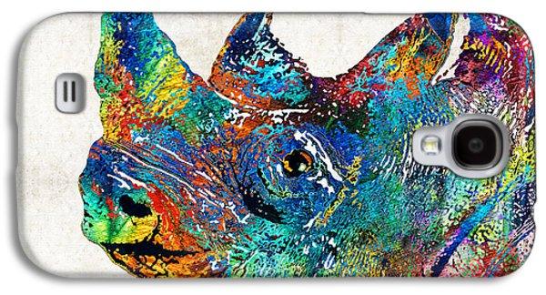 Rhinoceros Paintings Galaxy S4 Cases - Rhino Rhinoceros Art - Looking Up - By Sharon Cummings Galaxy S4 Case by Sharon Cummings