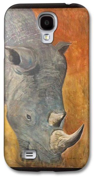 Rhinoceros Paintings Galaxy S4 Cases - Rhino Galaxy S4 Case by Shaunna Newell