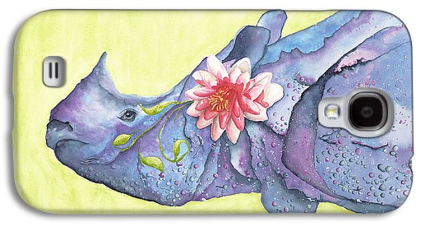 One Horned Rhino Paintings Galaxy S4 Cases - Rhino Whimsy Galaxy S4 Case by Mary Ann Bobko