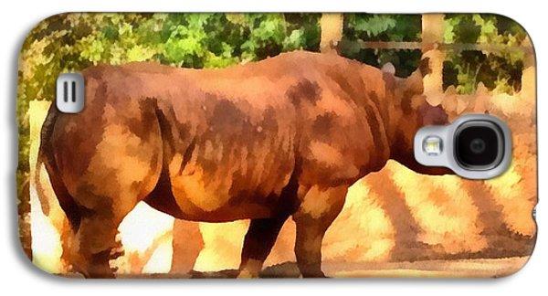Rhinoceros Paintings Galaxy S4 Cases - Rhinoceros Galaxy S4 Case by Dan Sproul