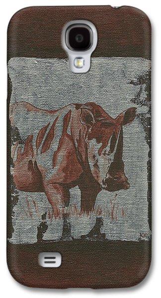 Rhinoceros Paintings Galaxy S4 Cases - Rhinoceros Galaxy S4 Case by Konni Jensen
