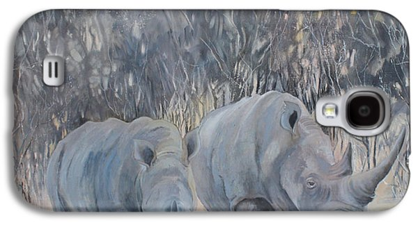 Rhinoceros Paintings Galaxy S4 Cases - Rhinos at Sunset Galaxy S4 Case by Madge Bright