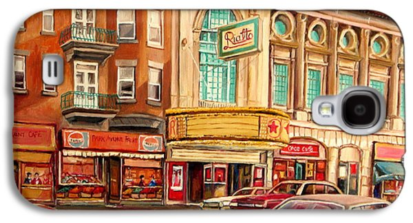 Montreal Storefronts Paintings Galaxy S4 Cases - Rialto Theatre Vintage Movie Marquee Fifties Cars Classic Signs Montreal Paintings Cspandau Art Galaxy S4 Case by Carole Spandau