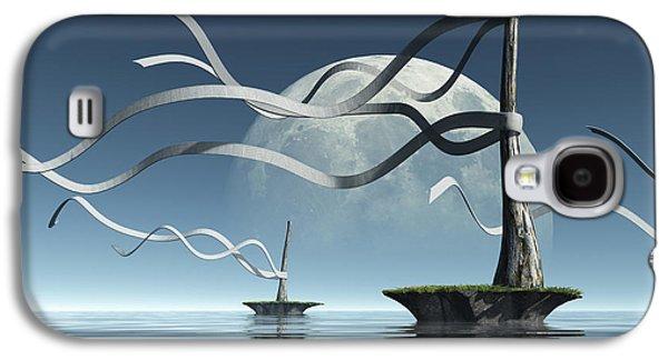 Sea Moon Full Moon Galaxy S4 Cases - Ribbon Island Galaxy S4 Case by Cynthia Decker