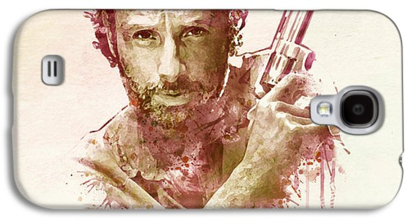 Walking Mixed Media Galaxy S4 Cases - Rick Grimes watercolor Galaxy S4 Case by Marian Voicu