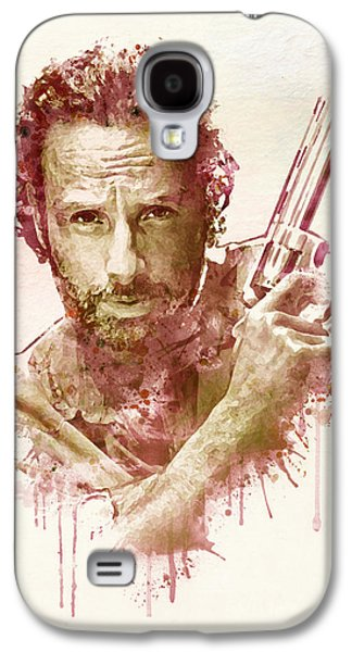 """""""square """" Mixed Media Galaxy S4 Cases - Rick Grimes watercolor Galaxy S4 Case by Marian Voicu"""