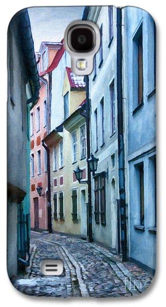Color Block Galaxy S4 Cases - Riga Narrow Street Painting Galaxy S4 Case by Antony McAulay