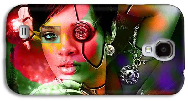 Rihanna Galaxy S4 Cases - Rihanna Over Rihanna Galaxy S4 Case by Marvin Blaine