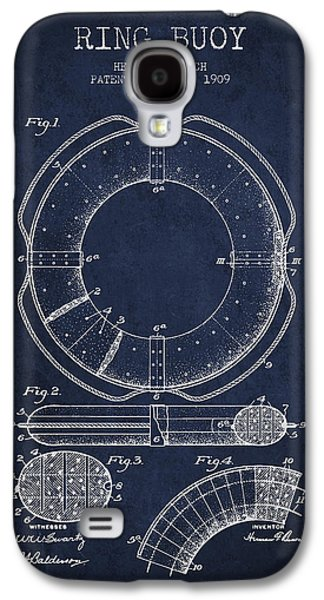 Saving Galaxy S4 Cases - Ring Buoy Patent from 1909 - Navy Blue Galaxy S4 Case by Aged Pixel