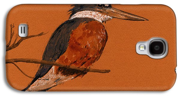 Ringed Kingfisher Bird Galaxy S4 Case by Juan  Bosco