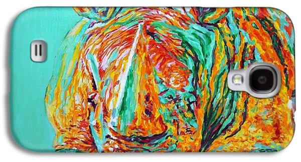 Rhinoceros Paintings Galaxy S4 Cases - Rino Galaxy S4 Case by Liliya Chernaya