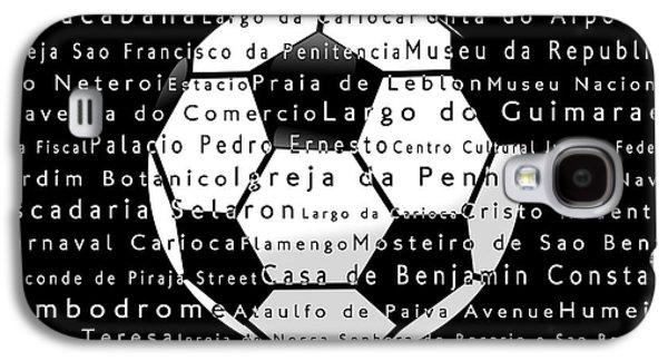 Rio De Janeiro In Words Black Soccer Galaxy S4 Case by Sabine Jacobs