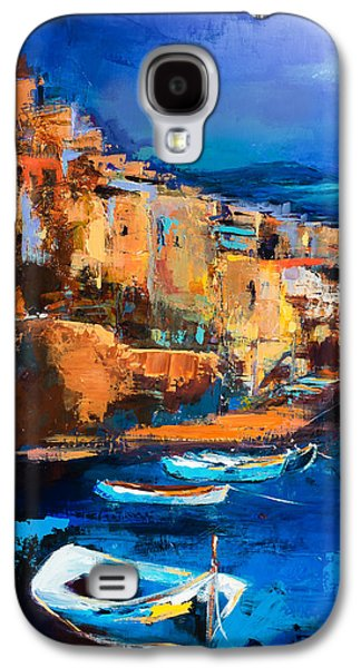Sunset Abstract Galaxy S4 Cases - Riomaggiore - Cinque Terre Galaxy S4 Case by Elise Palmigiani