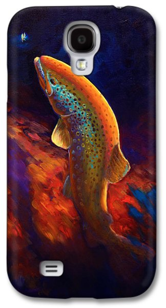Sportfishing Galaxy S4 Cases - Rising Brown Trout - Chiaroscuro Painting Galaxy S4 Case by Mike Savlen