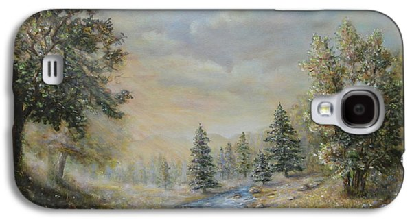 A Sunny Morning Paintings Galaxy S4 Cases - Rising mist in the Berkshires in MA Galaxy S4 Case by  Luczay