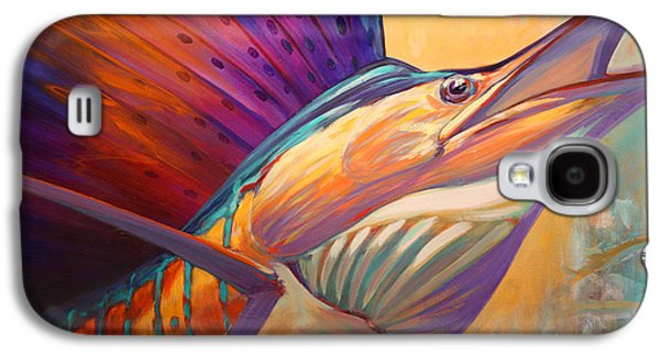 Sportfishing Galaxy S4 Cases - Rising Son - Contemporary Sailfish Painting Galaxy S4 Case by Mike Savlen