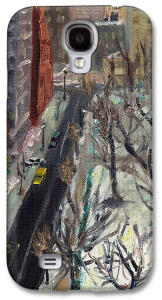 Phillies Paintings Galaxy S4 Cases - Rittenhouse Square in the Snow Galaxy S4 Case by Joseph Levine