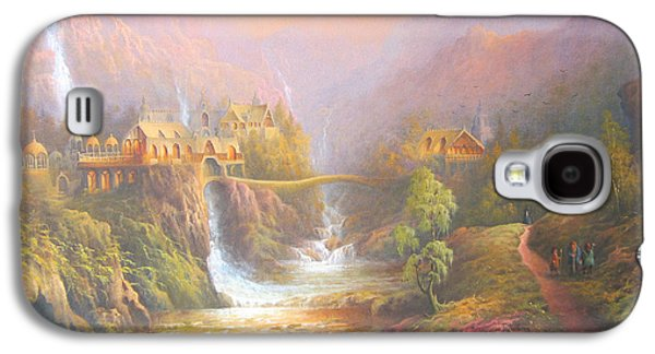 Fantasy Paintings Galaxy S4 Cases - Rivendell A Hobbits Tale. The Red Book Galaxy S4 Case by Joe  Gilronan