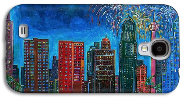 Fireworks Paintings Galaxy S4 Cases - River City Skyline Galaxy S4 Case by Patti Schermerhorn