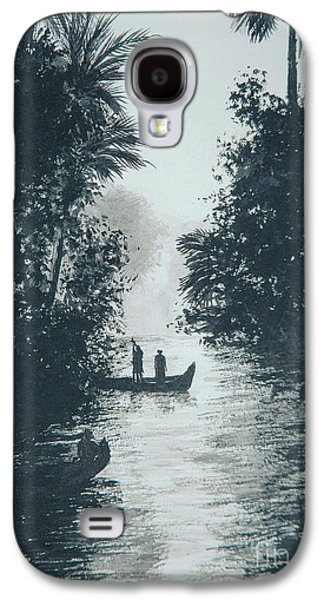 Canoe Drawings Galaxy S4 Cases - River in the jungle  Galaxy S4 Case by Pierre Huard