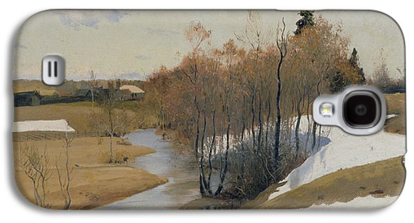 Snow Scene Landscape Paintings Galaxy S4 Cases - River Kordonka Galaxy S4 Case by Andrei Petrovich Ryabushkin