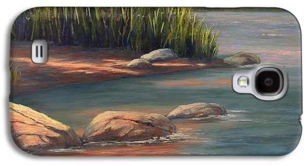 Waterscape Pastels Galaxy S4 Cases - River Reeds And Rocks Galaxy S4 Case by Candice Ferguson