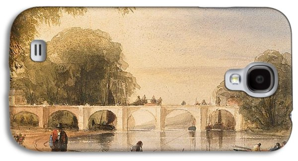 Water Scene Galaxy S4 Cases - River scene with bridge of six arches Galaxy S4 Case by Robert Hindmarsh Grundy