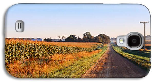 Agronomy Galaxy S4 Cases - Road Along Rural Cornfield, Illinois Galaxy S4 Case by Panoramic Images
