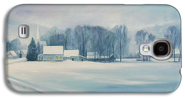 New England Snow Scene Paintings Galaxy S4 Cases - Road to Felchville Vermont Galaxy S4 Case by Nancy Griswold
