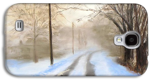 Winter Scene Pastels Galaxy S4 Cases - Road to the Ice House Galaxy S4 Case by Jack Skinner