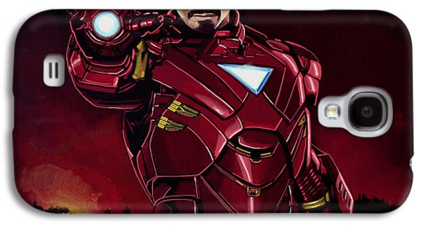Power Paintings Galaxy S4 Cases - Robert Downey Jr. as Iron Man Galaxy S4 Case by Paul  Meijering