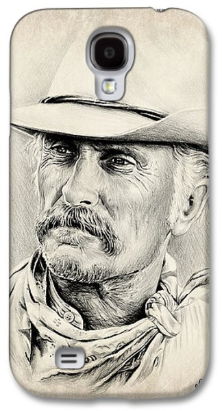 Character Portraits Drawings Galaxy S4 Cases - Robert Duvall sepia scratch Galaxy S4 Case by Andrew Read