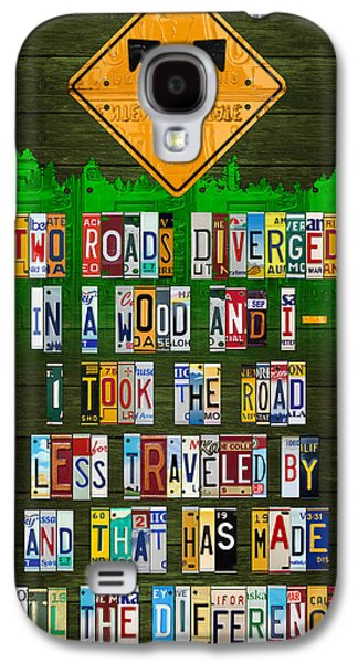 Poetry Galaxy S4 Cases - Robert Frost The Road Not Taken Poem Recycled License Plate Lettering Art Galaxy S4 Case by Design Turnpike
