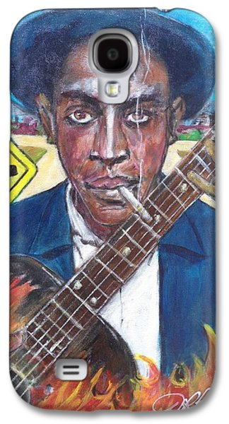 Keith Richards Galaxy S4 Cases - Robert Johnson at the Crossroads Galaxy S4 Case by Aaron Harvey