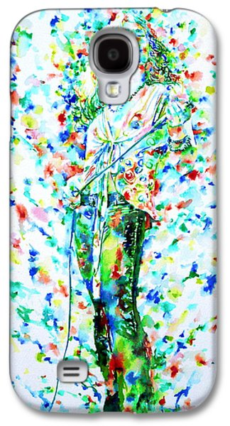 Led Zeppelin Paintings Galaxy S4 Cases - ROBERT PLANT SINGING - watercolor portrait Galaxy S4 Case by Fabrizio Cassetta