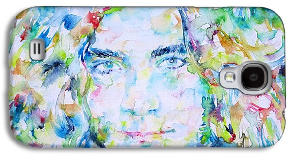 Led Zeppelin Paintings Galaxy S4 Cases - ROBERT PLANT - watercolor portrait Galaxy S4 Case by Fabrizio Cassetta