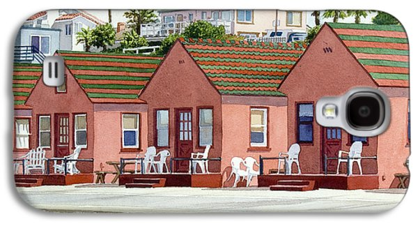 Holiday Paintings Galaxy S4 Cases - Roberts Cottages Oceanside Galaxy S4 Case by Mary Helmreich