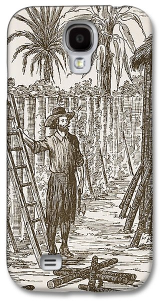 Fence Drawings Galaxy S4 Cases - Robinson Crusoe building his bower Galaxy S4 Case by English School