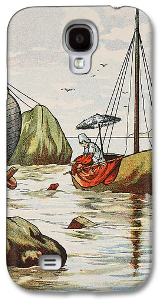 Novel Paintings Galaxy S4 Cases - Robinson Crusoe rescuing a dog from a Spanish shipwreck Galaxy S4 Case by English School