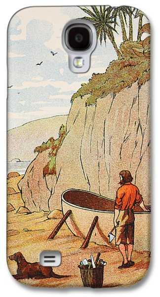 Canoe Drawings Galaxy S4 Cases - Robinson Crusoes canoe Galaxy S4 Case by English School