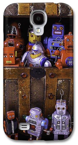 Robots In Treasure Box Galaxy S4 Case by Garry Gay
