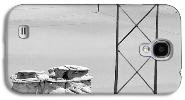 Landscape Acrylic Prints Galaxy S4 Cases - Rock and Power Line Galaxy S4 Case by Julie Niemela