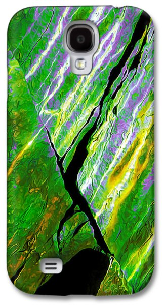 Nature Abstract Galaxy S4 Cases - Rock Art 16 in Green Galaxy S4 Case by Bill Caldwell -        ABeautifulSky Photography