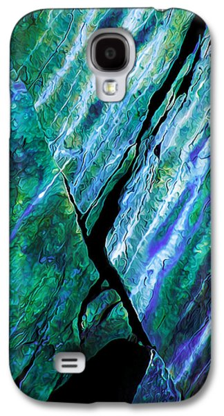 Blue Abstracts Galaxy S4 Cases - Rock Art 16 in Teal n Violet Galaxy S4 Case by Bill Caldwell -        ABeautifulSky Photography