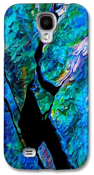 Nature Abstract Galaxy S4 Cases - Rock Art 17 in Aqua Galaxy S4 Case by Bill Caldwell -        ABeautifulSky Photography