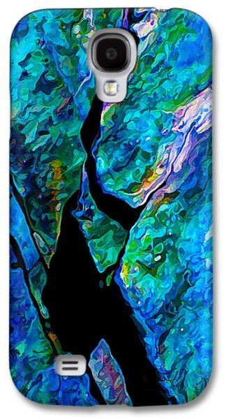 Blue Abstracts Galaxy S4 Cases - Rock Art 17 in Aqua Galaxy S4 Case by Bill Caldwell -        ABeautifulSky Photography