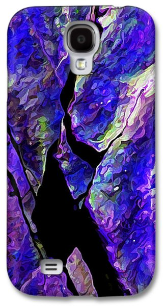 Nature Abstract Galaxy S4 Cases - Rock Art 17 in Blue Galaxy S4 Case by Bill Caldwell -        ABeautifulSky Photography