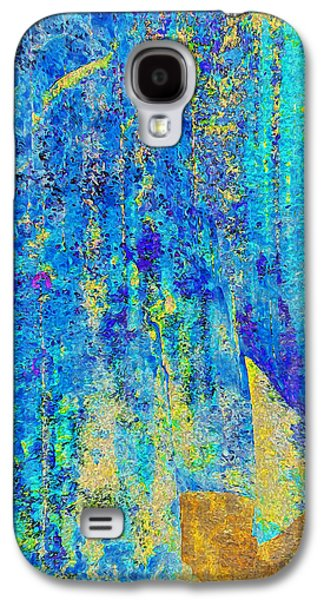 Abstract Digital Galaxy S4 Cases - Rock Art Blue and Gold Galaxy S4 Case by Stephanie Grant
